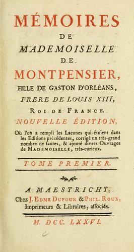 Download Mémoires de Mademoiselle de Montpensier