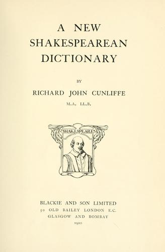 A new Shakespearean dictionary.