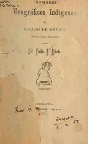 Nombres geográficos indígenas del estado de Mexico.
