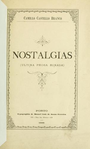 Nostalgias: ultima prosa rimada