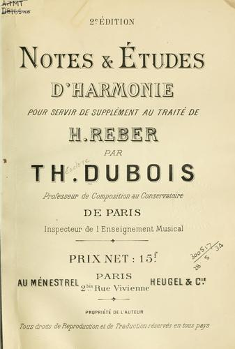 Notes & études d'harmonie pour servir de supplément au traité de H. Reber.