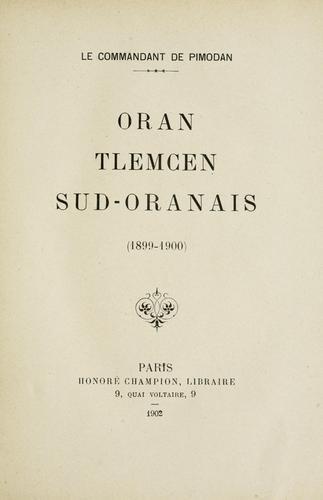 Oran, Tlemcen, Sud-Oranais (1899-1900)