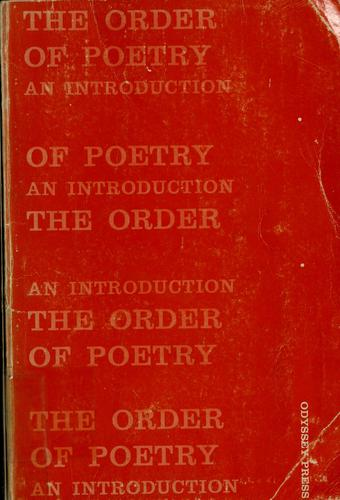 The order of poetry by Edward Alan Bloom
