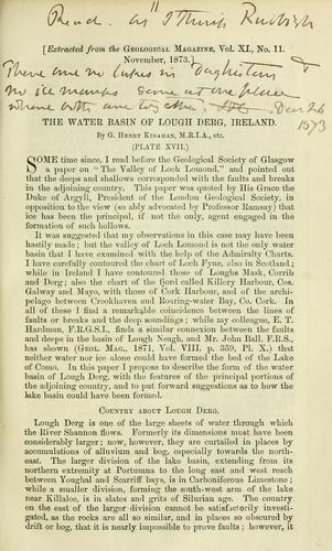 The water basin of Lough Derg, Ireland by G. Henry Kinahan
