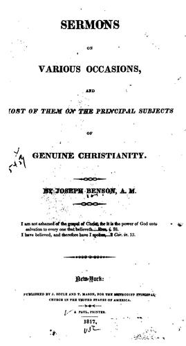 Sermons on Various Occasions: And Most of Them on the Principal Subjects of Genuine Christianity