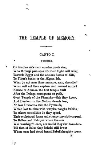 The temple of memory a poem.