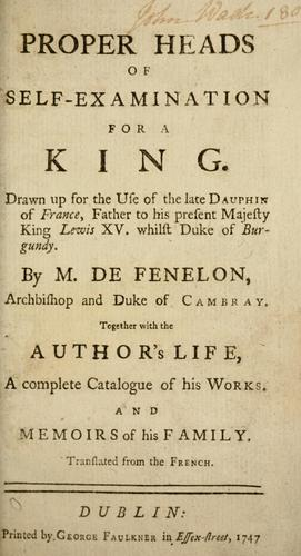 Proper heads of self-examination for a king