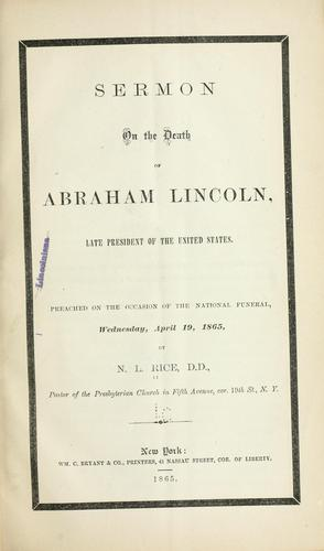 Sermon on the death of Abraham Lincoln, late President of the United States