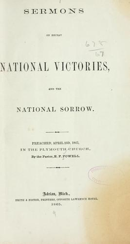 Download Sermons on recent national victories, and the national sorrow.