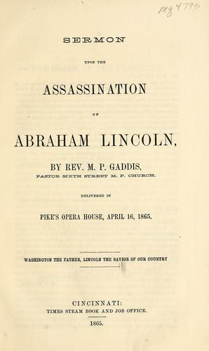 Sermon upon the assassination of Abraham Lincoln