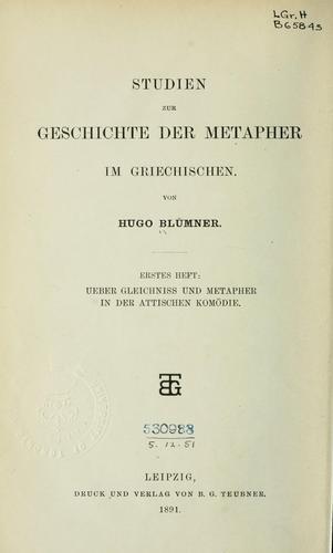 Studien zur Geschichte der Metapher im Griechischen