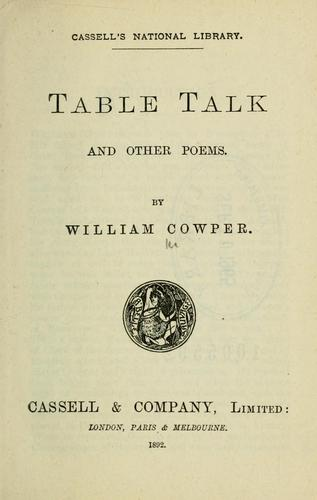 Table talk, and other poems by Cowper, William