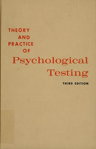 Download Theory and practice of psychological testing.
