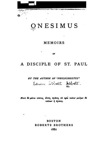 Onesimus, Memoirs of a Disciple of St. Paul