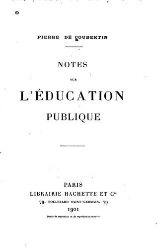 Notes sur l'éducation publique
