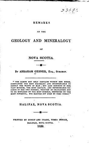 Remarks on the Geology and Mineralogy of Nova Scotia