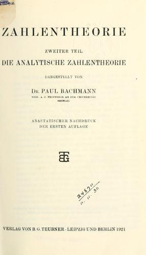Die analytische Zahlentheorie.
