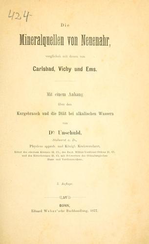 Download Die Mineralquellen von Neuenahr, verglichen mit denen von Carlsbad, Vichy und Ems.