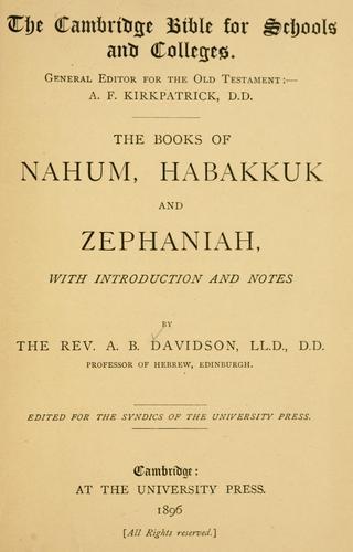 The books of Nahum, Habakkuk and Zephaniah