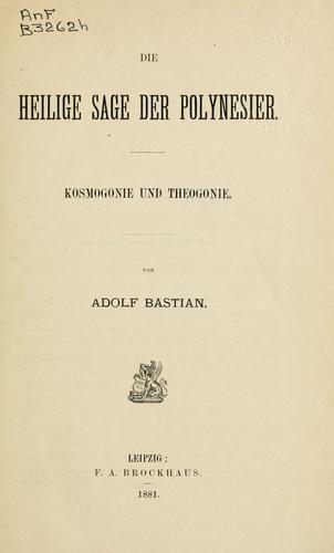 Download Die heilige Sage der Polynesier, Kosmogonie und Theogonie.