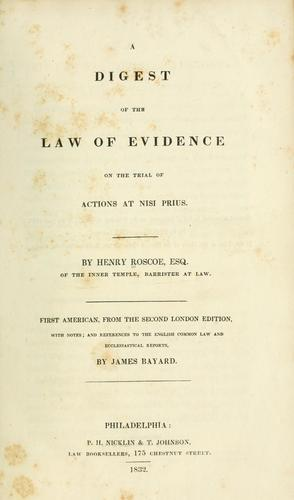 Download A digest of the law of evidence on the trial of actions at nisi prius.