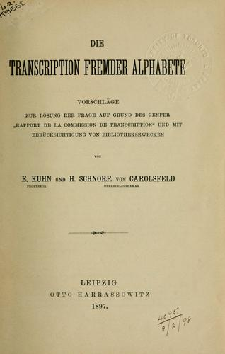 Die Transcription fremder Alphabete