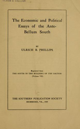 Download The economic and political essays of the ante-bellum South