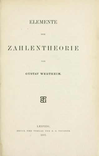 Elemente der Zahlentheorie.