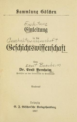 Download Einleitung in die geschichtswissenschaft