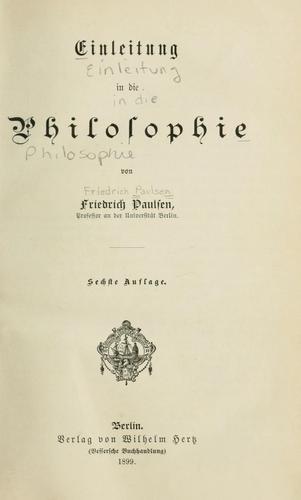Einleitung in die Philosophie.