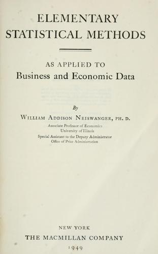 Download Elementary statistical methods as applied to business and economic data