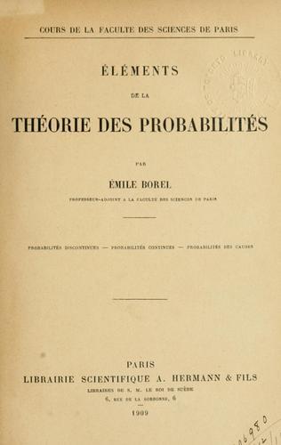 Eléments de la théorie des probabilités.