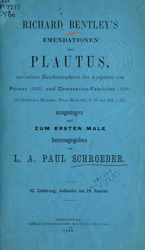 Emendationen zum Plautus by Richard Bentley