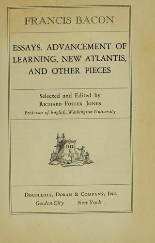 Download Essays, Advancement of learning, New Atlantis and other pieces