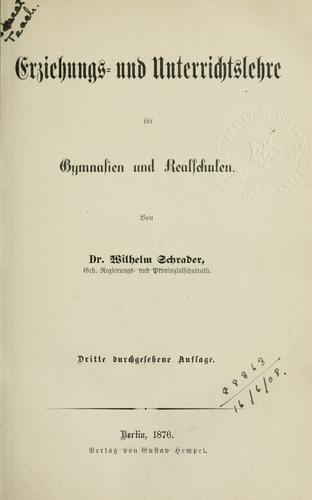 Erziehungs- und Unterrichtslehre für Gymnasien und Realschulen.