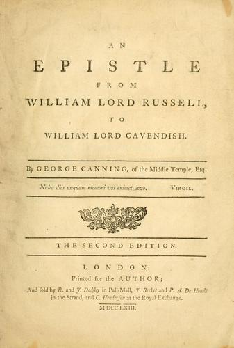 An epistle from William Lord Russell to William Lord Cavendish.