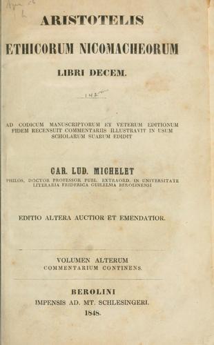 Ethicorum Nicomacheorum libri decem.