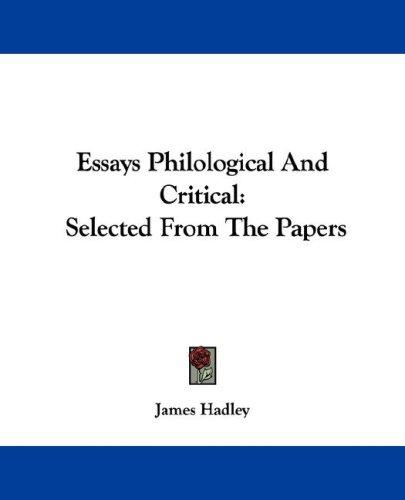 Download Essays Philological And Critical