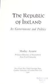 Cover of: The Republic of Ireland | Morley Ayearst