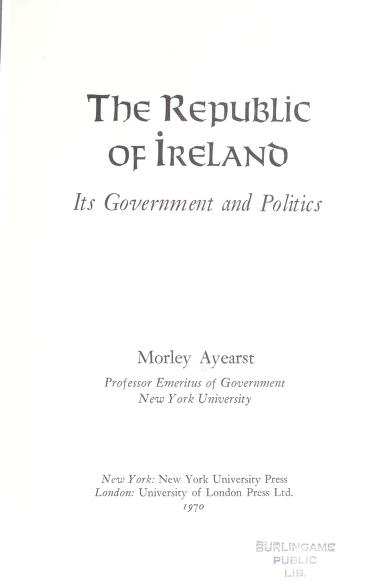 The Republic of Ireland by Morley Ayearst