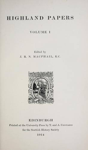 Highland papers by J. R. N. MacPhail