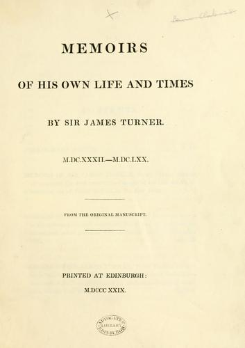 Memoirs of his own life and times by Bannatyne Club (Edinburgh, Scotland)