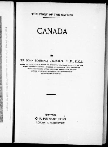 Canada by Bourinot, John George Sir