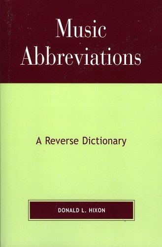 Music Abbreviations by Donald L. Hixon