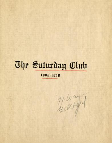 The Saturday Club by Saturday Club (Fort Wayne, Ind.)