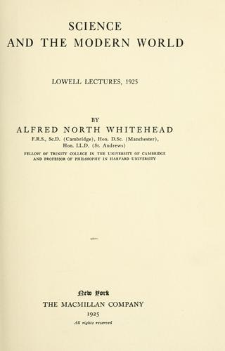 Science and the modern world. by Alfred North Whitehead