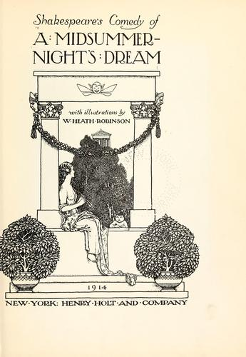 Shakespeare's comedy of A midsummer-night's dream by William Shakespeare
