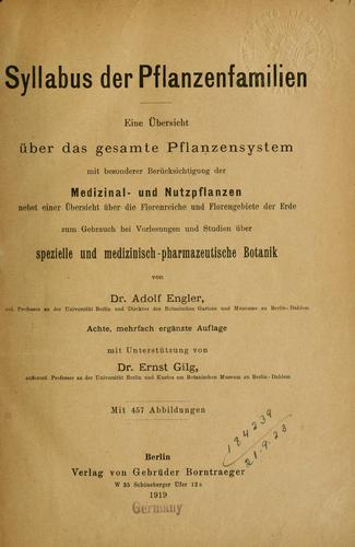 Syllabus de Pflanzenfamilien by Adolf Engler