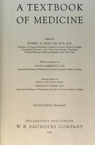 A textbook of medicine by Cecil, Russell L.
