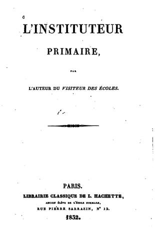 L'Instituteur primaire by Jacques Matter